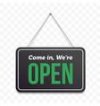 open hanging door sign green we are open on black vector image vector image