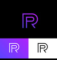 p and r linear monogram logo public relations vector image
