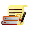 parchment diploma graduation with books and pen vector image vector image