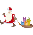 santa claus with gifts on sledge vector image vector image