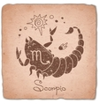 Scorpio zodiac sign horoscope vintage card vector image vector image