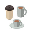 set coffee drinks isometrics icons vector image