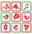 Set of 9 spring icons with birds vector image