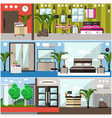 set of luxury hotel interior flat posters vector image vector image