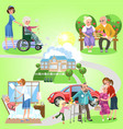 set of old women and men spending time in nursing vector image vector image