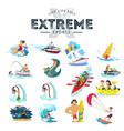 set of water extreme sports icons isolated design