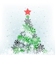 snow feer-tree with red star vector image