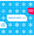 snowflake icons set outline icon thin vector image vector image