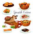 spanish cuisine dinner menu poster design vector image vector image