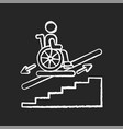stair lift chalk white icon on black background vector image