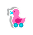 stylish icon in paper sticker style duck toy vector image vector image