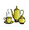 Teapot and cups isolated on a white backgrounds vector image