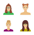 the face of a girl with glasses a woman with a vector image vector image