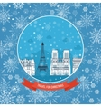 Travel to France for christmas Greeting card vector image