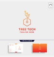 tree technology logo design nature tech symbol vector image