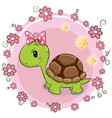 turtle with flowers on a pink background vector image