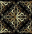 vintage gold 3d damask seamless pattern vector image