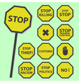 yellow stop road sign set as banners eps10 vector image vector image