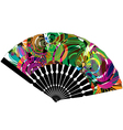 Fan with abstract drawing vector image