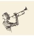 Jazz poster Man playing trumpet drawn sketch vector image