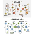 thin line flat design Sales and Business vector image