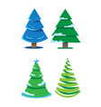 a set of four fir-trees of different shapes vector image vector image