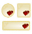 Banner and buttons Valentine day two red hearts vector image vector image