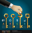 Businessman hand with key concept vector image vector image