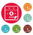 calendar fourth july icons circle set vector image