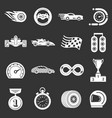 Car race icons set grey