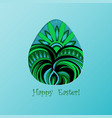 card of easter with graphic color egg vector image vector image