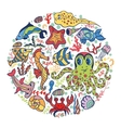 Cartoon Funny Sea Lifefish circle background vector image vector image