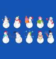 cartoon snowman snowmen with xmas gift winter vector image vector image