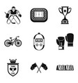 championship hockey icons set simple style vector image vector image