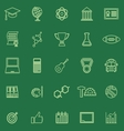 college line color icons on green background vector image