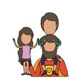 colorful caricature faceless half body super dad vector image vector image