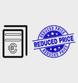 contour euro price pages icon and grunge vector image vector image