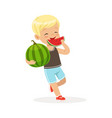cute little blonde boy character enjoying eating vector image vector image