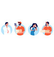 delivery service people talking on smartphone vector image