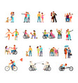 disabled people big set vector image