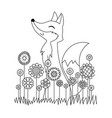 doodle coloring book page cute fox in flowers vector image vector image