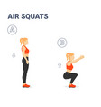 girl doing air squats exercise home workout vector image vector image