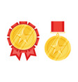 gold star medals in flat style vector image