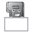 grinning with board button enter in shape vector image vector image