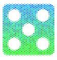 halftone blue-green dice icon vector image