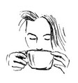 hand-drawn sketch woman drinking coffee vector image vector image
