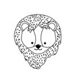 line cute lion head wild animal vector image vector image