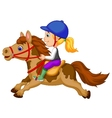 Little girl cartoon riding a pony horse vector image vector image