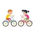 Little happy boy and girl on sport bike vector image