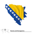 Map of Bosnia and Herzegovina with flag vector image vector image